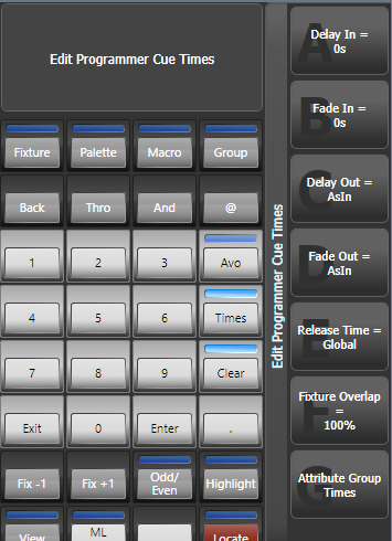 Edit Programmer Cue Times in the Titan Go interface
