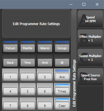 Edit Programmer Rate Settings Menu, found by pressing Options