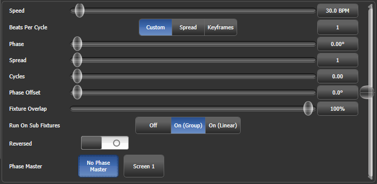 Effect Editor key frame controls for layer/effect