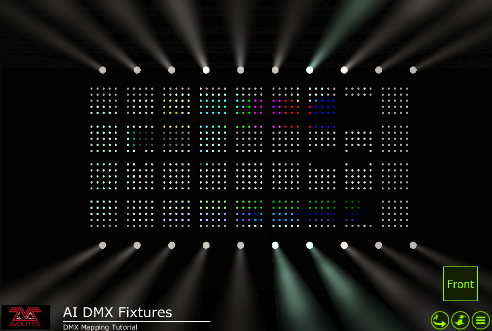 Pixel Mapped fixtures with Ai screen shown in Capture Visualiser